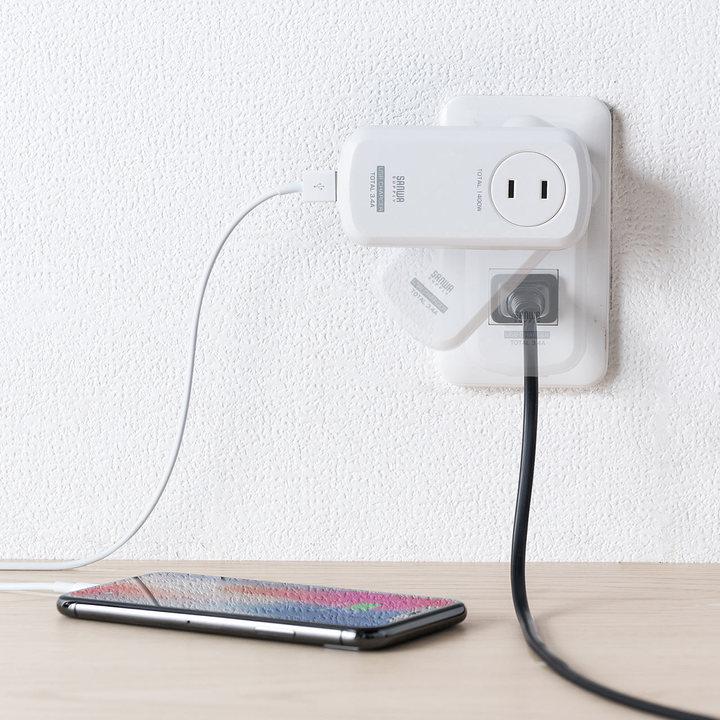天才の発想だこれ…。くるくる回って差込口を封印しないUSB充電器+電源タップ