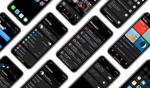 iPhone Xの有機ELに最高に映える、iOSのブラックモードのコンセプト画像