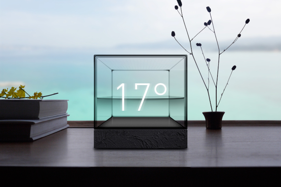 雨の日は気泡、風の日は波が立つ。水の動きで天気が分かる「Weather Cube」