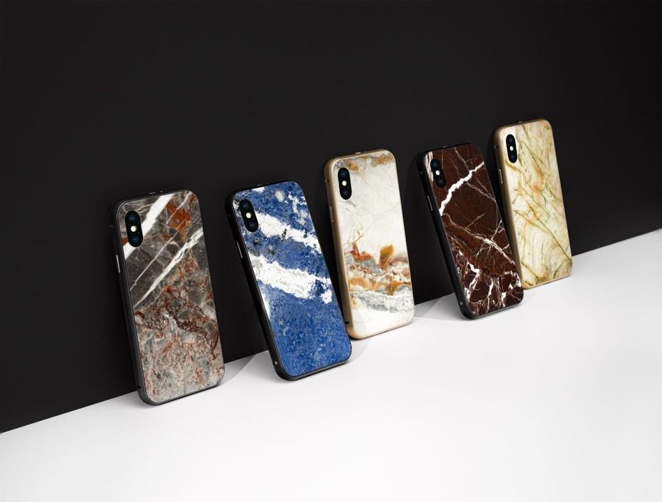 石から削り出された世界にひとつしかないケース、がっしりiPhone Xを保護