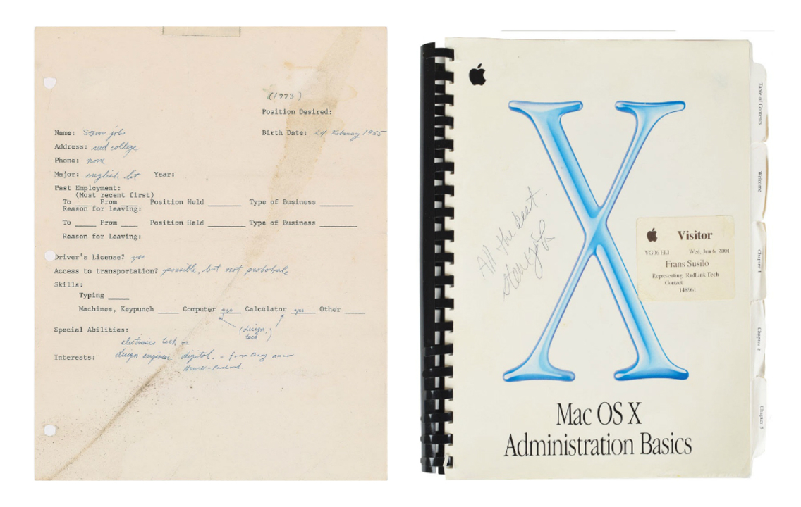 スティーブ・ジョブズ直筆のエントリーシートやサイン入り新聞紙がオークションに出品中