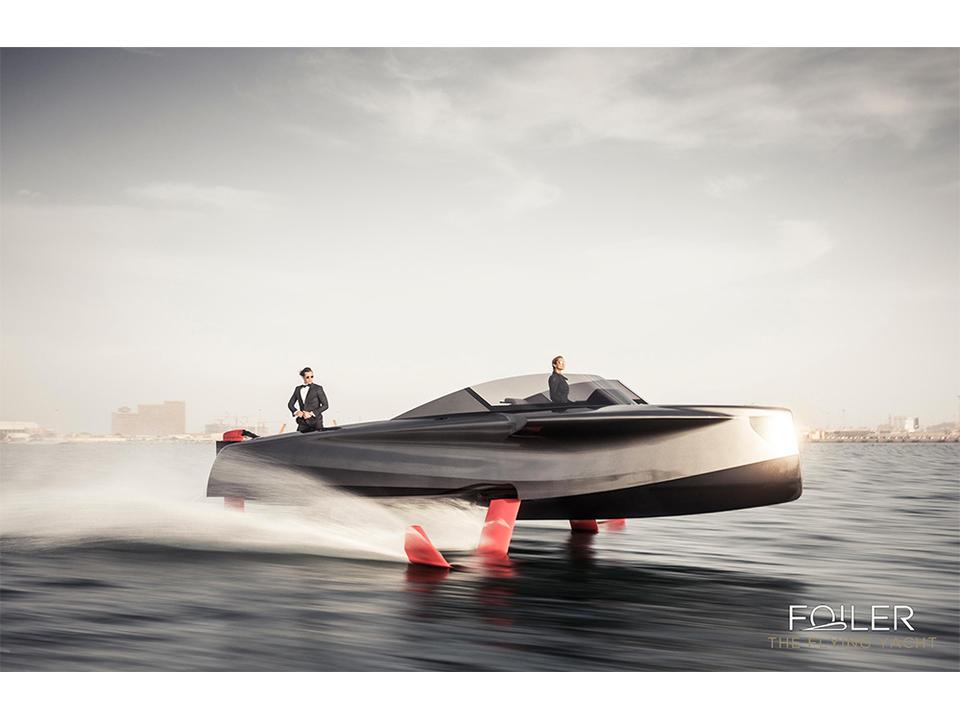 007が乗ってそう! 水上を浮く高速フライングボート「FOILER」