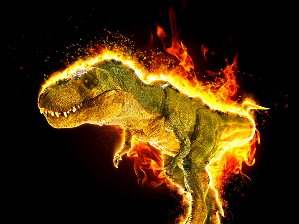 恐竜のテーマパークで大炎上したT-Rexの模型、燃え尽きた姿に笑ってしまう