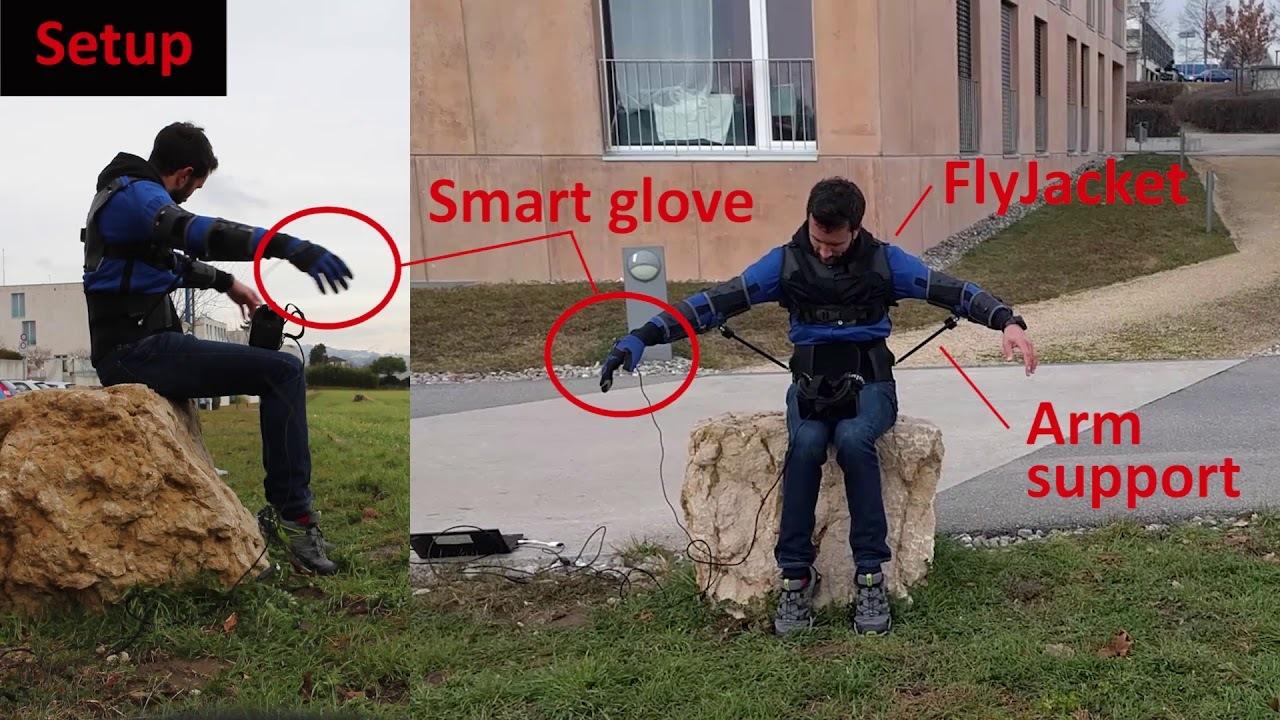 VRゴーグルと飛行機ブーンのポーズでドローンを操る研究「フライジャケット」