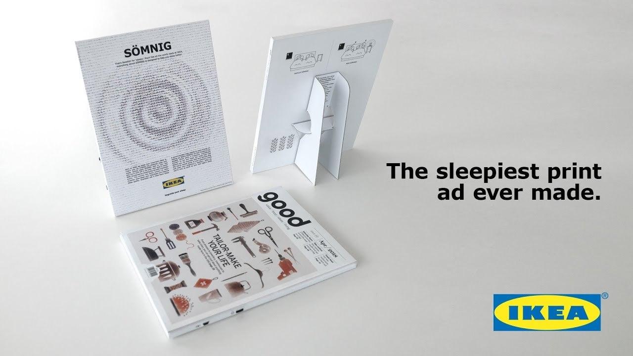 IKEAの世界一眠たくなる雑誌広告「SÖMNIG」。ホワイトノイズとラヴェンダーの香りで夢の世界へ