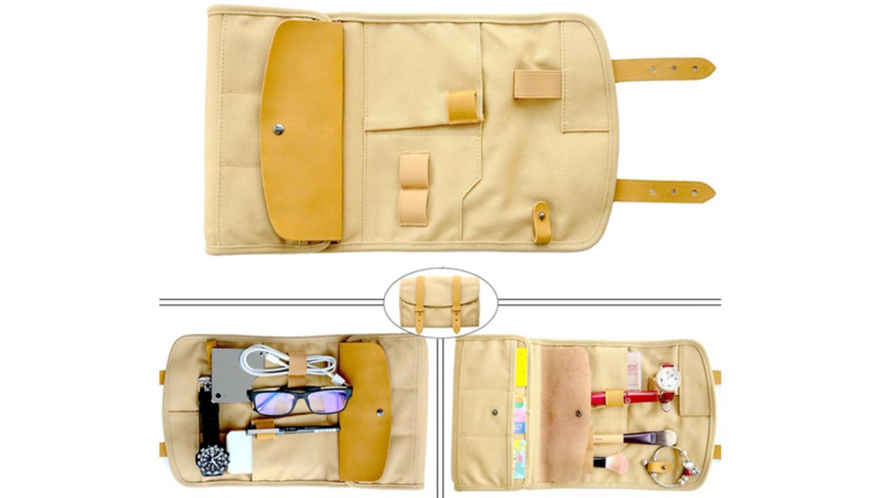 素材は「帆布×レザー」。収納ポケットが豊富なFlypandaの小物ポーチ