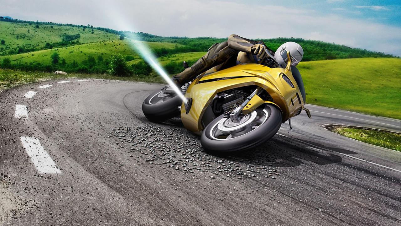 ボシュ!っと噴出。バイクの横滑り転倒をガス噴射で立ち直らせるシステムが開発