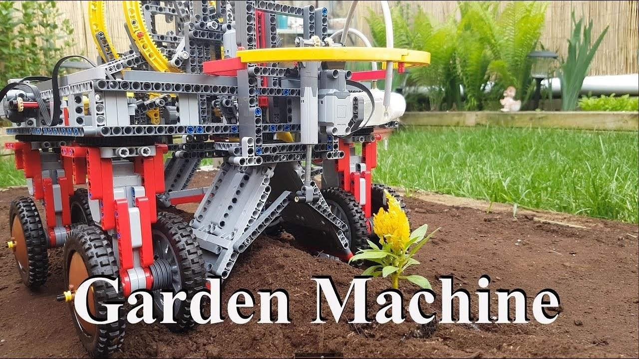苗木を植えて水もやる、レゴでできた働き者のガーデン・マシーン
