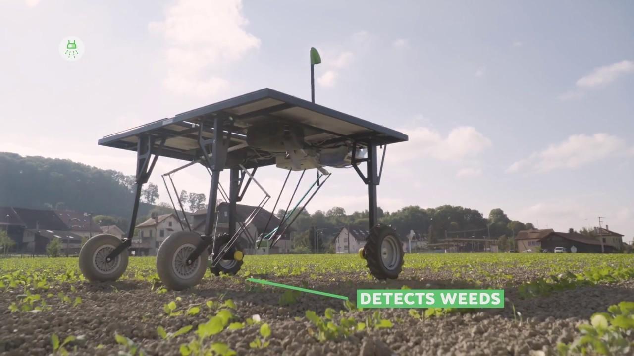 畑に惑星探査機? いえ、太陽電池で12時間働く除草剤散布マシーンなんです