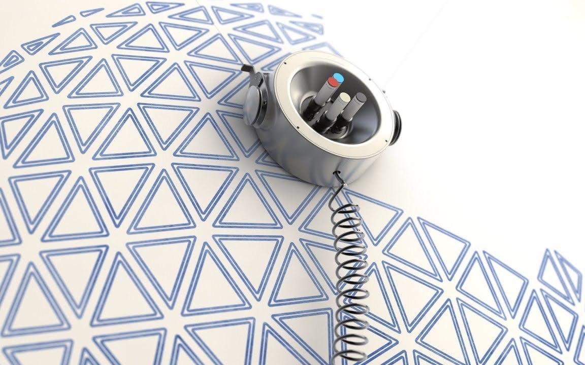 4色ペンをセットして壁面にお絵描きしてくれるロボット「Scribit」。消えるインクで壁やガラスを自分好みのデザインに