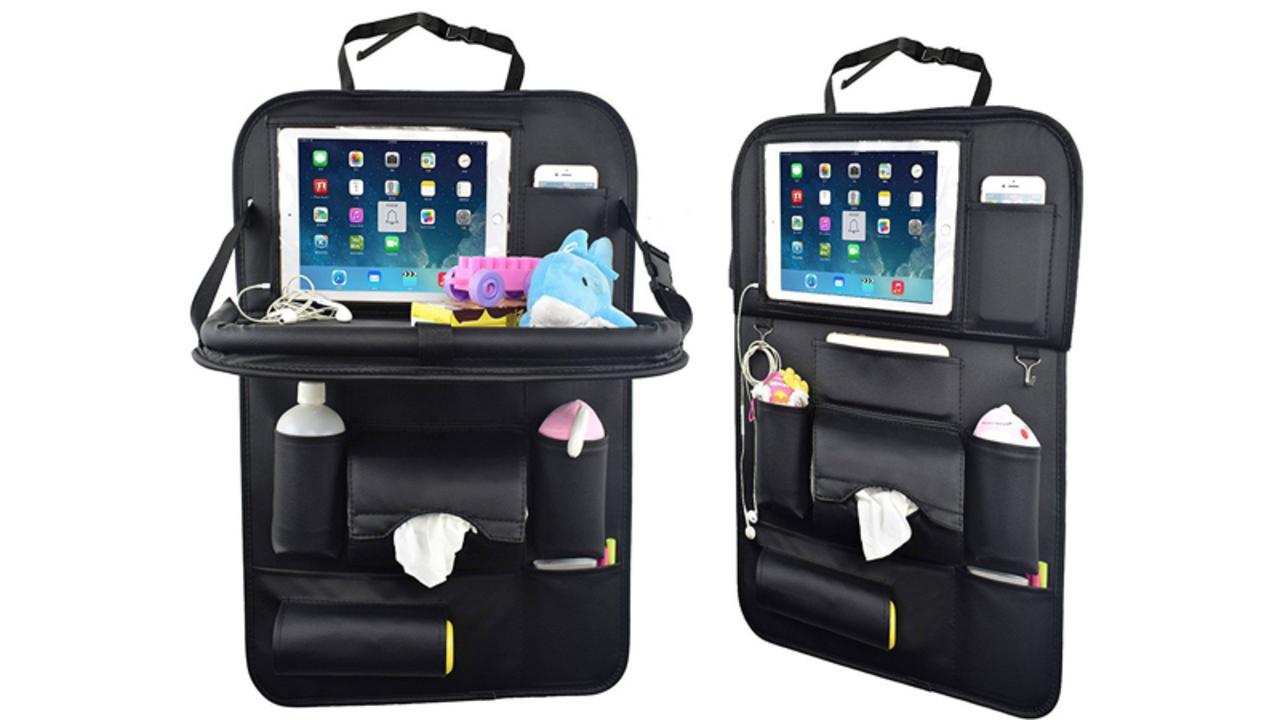 レジャーの季節にぴったり! テーブルやiPad置き場など車内にスペースを拡張する「シートバックポケット」