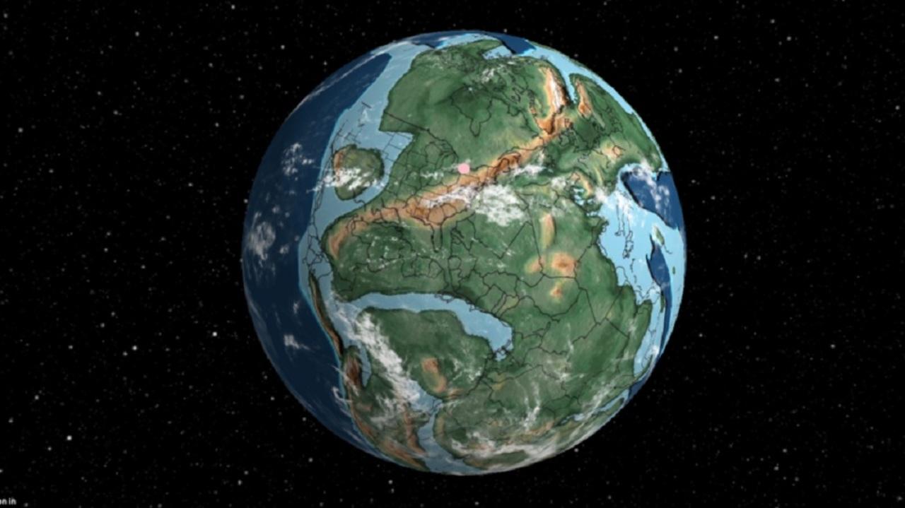指定した住所が7億5000万年前どこにあったかを示してくれる3Dマップ。大陸ってこんなに分裂・移動してたんだ…