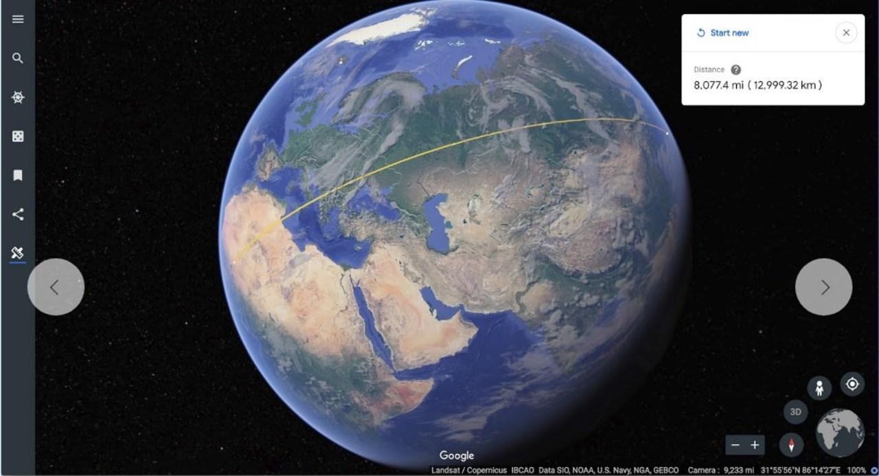 Google Earthで二点間の距離が測れるように。ただそれだけだけど、なんだかロマンチック