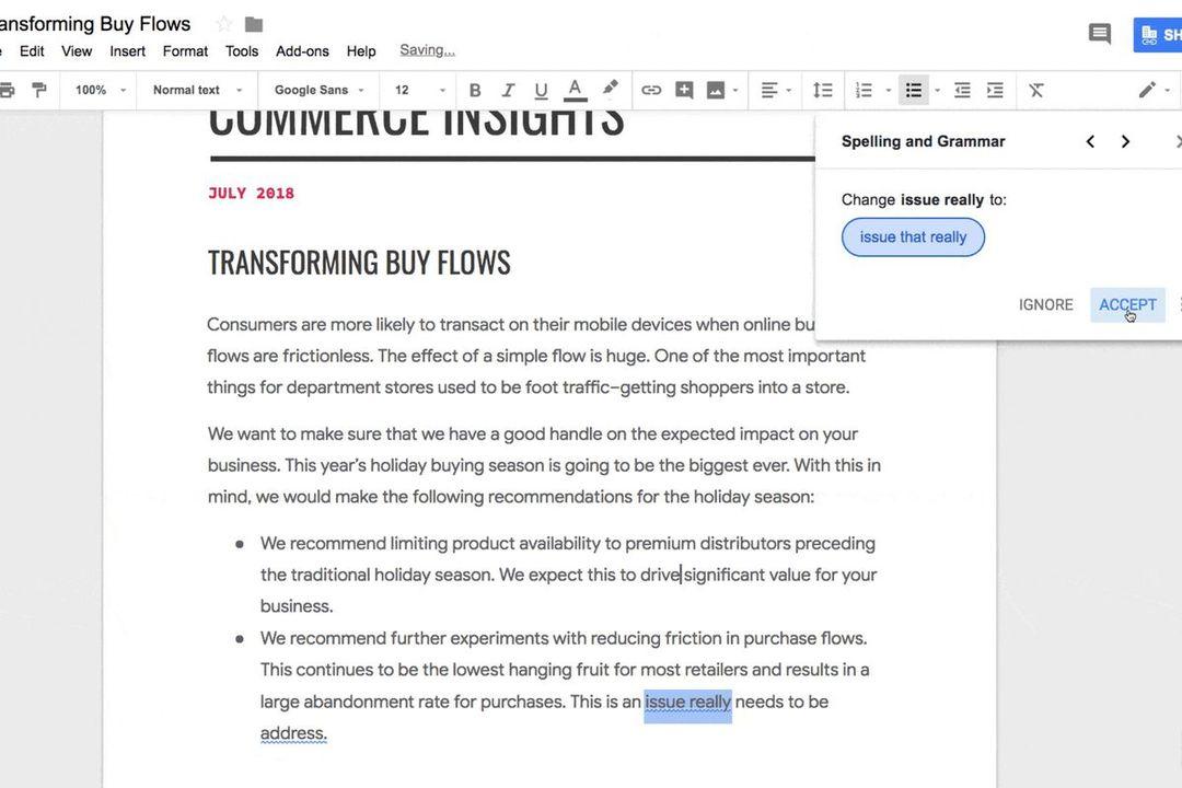 英語メールもこわくない。Google Docsに文法チェックAIが登場