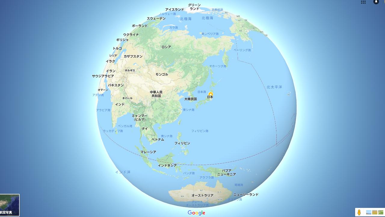 これが正しい姿。Googleマップの地球が丸くなったよ