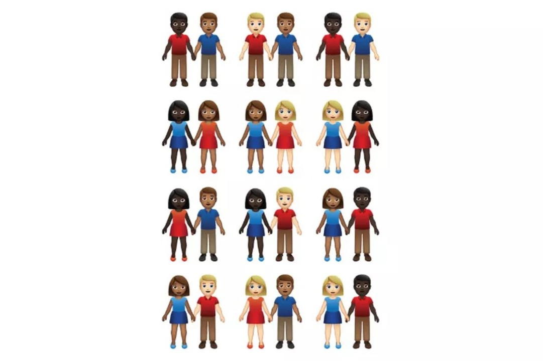 来年追加されるEmojiでは、性別と肌の色で55パターンのカップルが表せるように