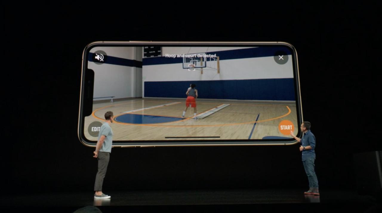 スマホで映すだけで、バスケのシュートをスコアリングしたり動体認識をしてくれるんですって #AppleEvent