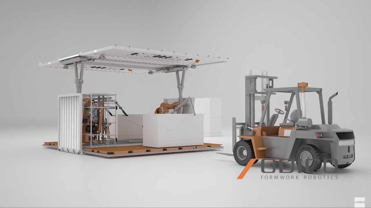 どこにでも輸送できるコンテナサイズの建設ロボット。コンセント差し込んだらすぐ動くよ