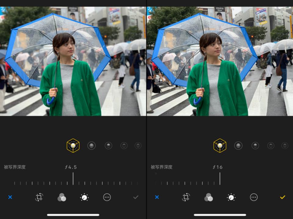 iOS 12.1ベータ版から、撮影中でもボケを調整できる機能を確認