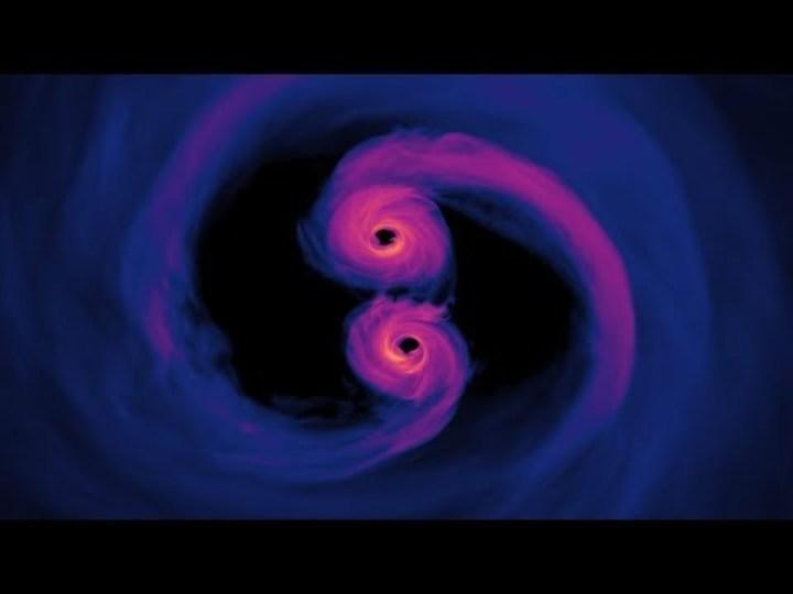正気を失いそう。NASAがふたつの超大質量ブラックホールが融合する姿をシミュレートした動画が控えめに言ってヤバい