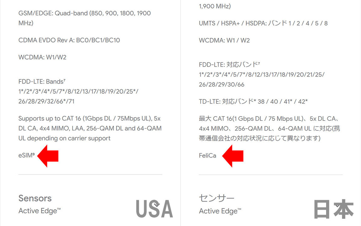 Pixel 3、日本版と海外版で別のハードウェアみたい
