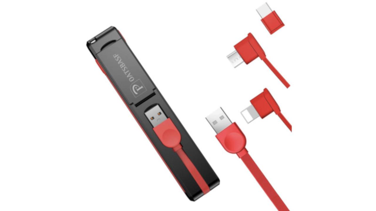 iPhoneもAndroid端末もこれ1本。3つの端子が1つになった「折りたたみ式 3in1充電ケーブル」