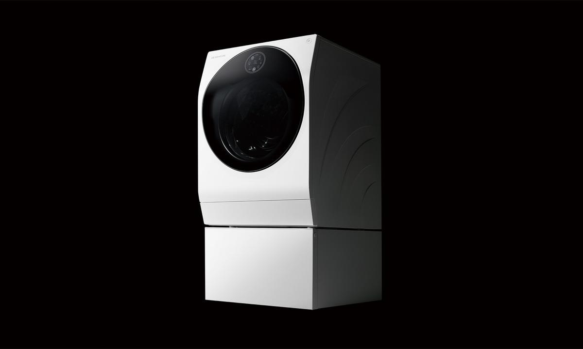 この洗濯機、ノリノリである。LGの洗濯機の上に洗濯機が乗った洗濯機