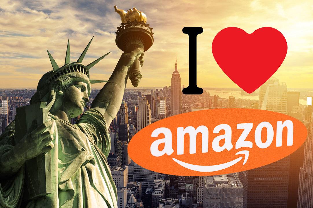 第2本社建てるぞー! N.Y.がお祝いでAmazonオレンジに染まる