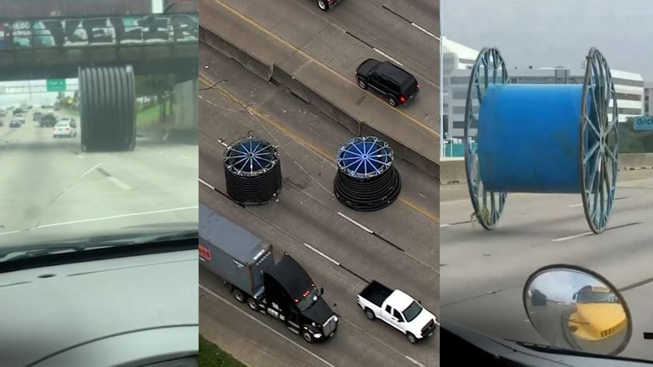 高速道路で巨大スプールがゴロンゴロン