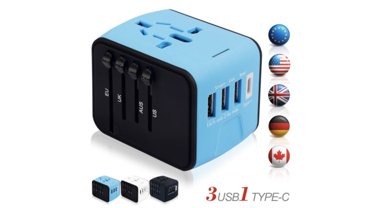 USBポートやType-Cポートも搭載した海外旅行用変換アダプターは、世界200ヶ国以上で対応可能