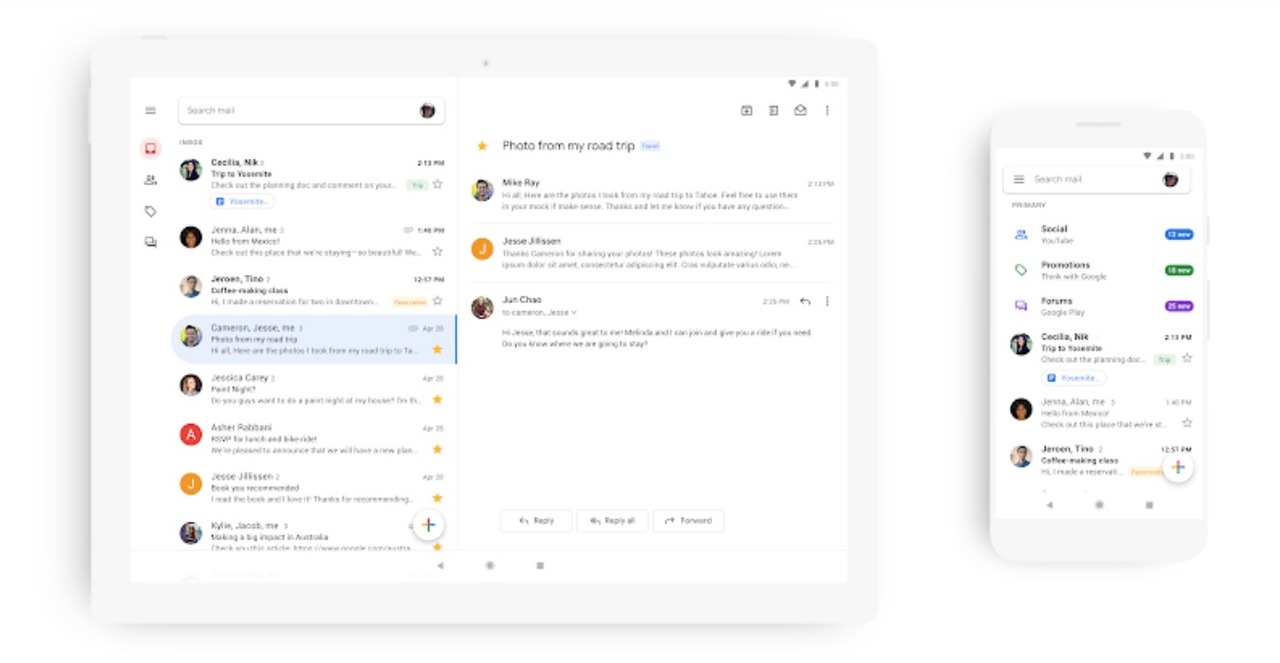 Android&iOS版「Gmail」アプリ、マテリアルデザインへリニューアル