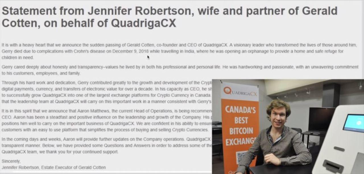 カナダのMt.Gox、QuadrigaCX閉鎖。CEOがインドで死亡し150億円のウォレットが永久に開かなくなる