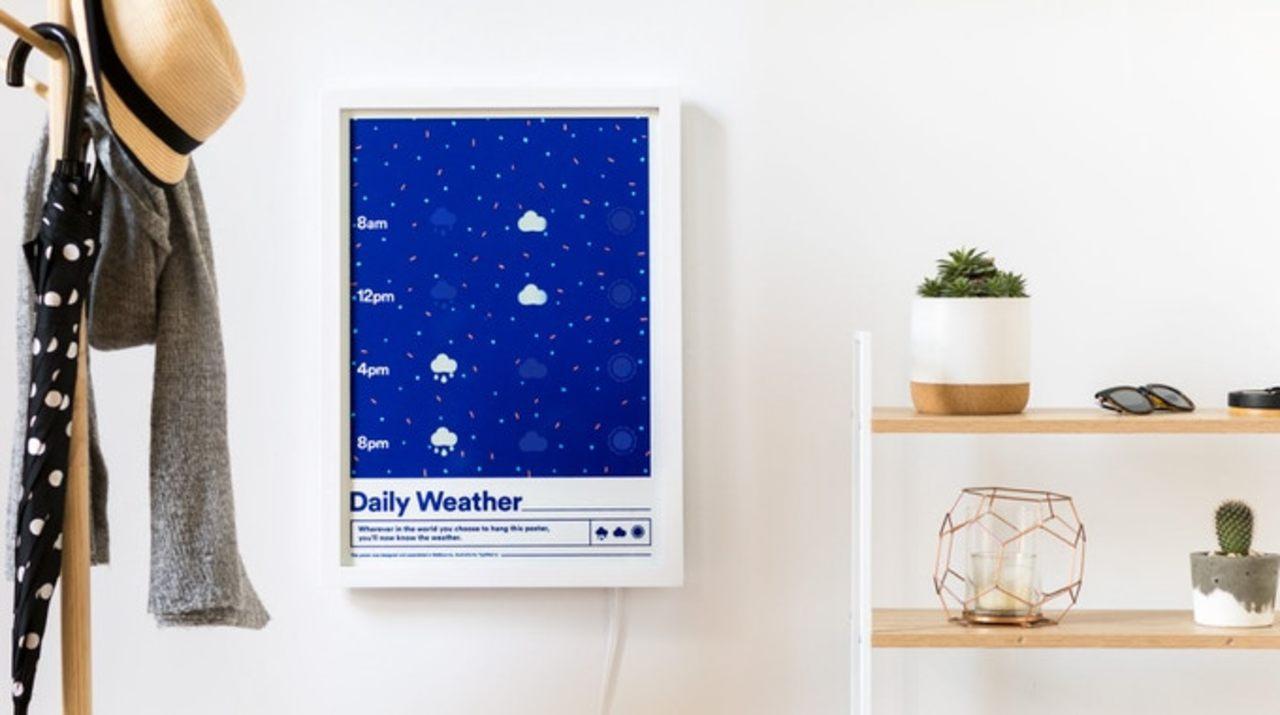 アイコンが変化する。スマートインクで刷られた天気予報ポスター