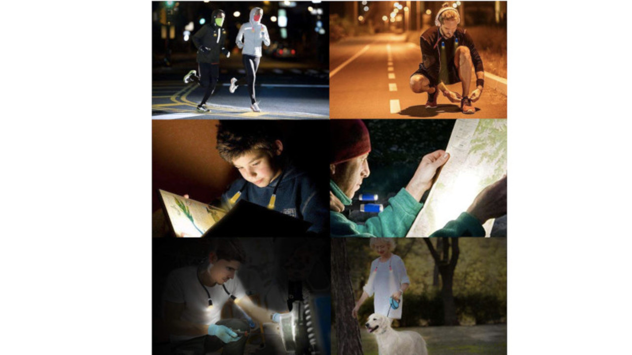 目にやさしいLEDの光で、アウトドアや夜散歩を明るく照らすネックライト。ハンズフリーだから読み聞かせにも使えるね