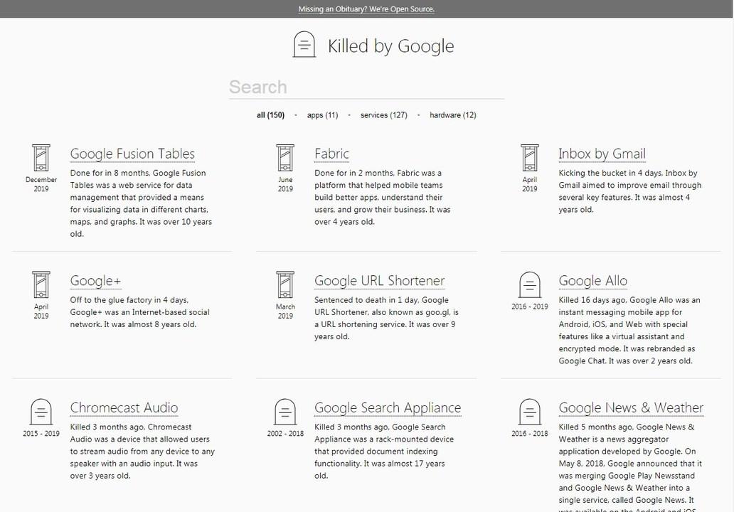 Googleが立ち上げては潰してきたサービス一覧「Killed by Google」