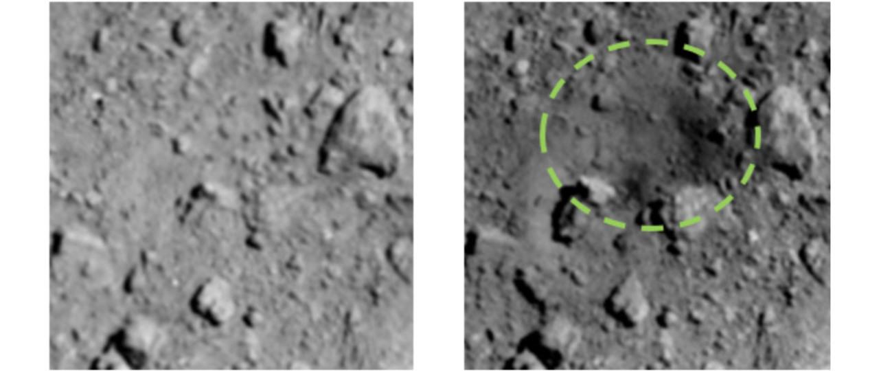 はやぶさ2の小惑星射撃が成功! 人工クレーターが写ったよ
