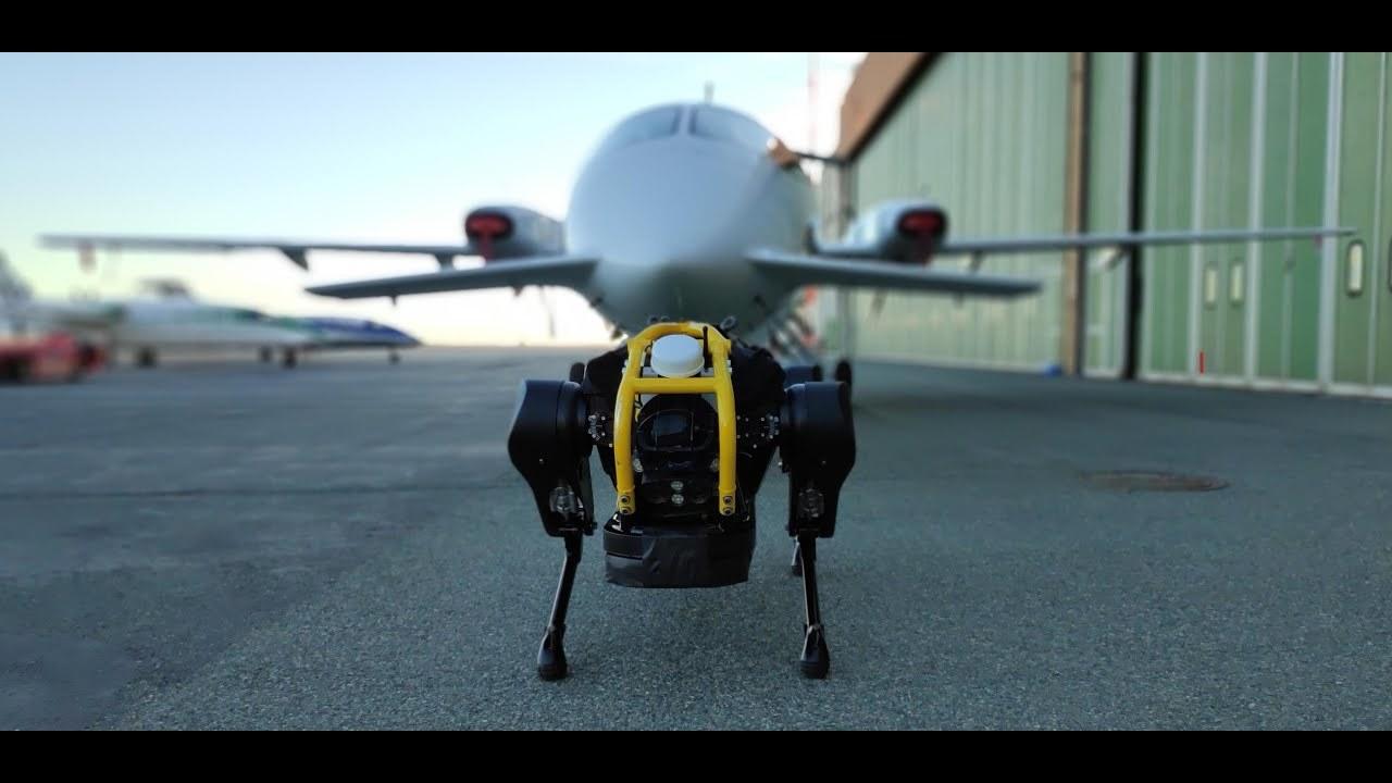 頑張れ…頑張れ…!って気持ちになる。小さな犬型ロボットが、3トンの小型旅客機を引っ張るようす