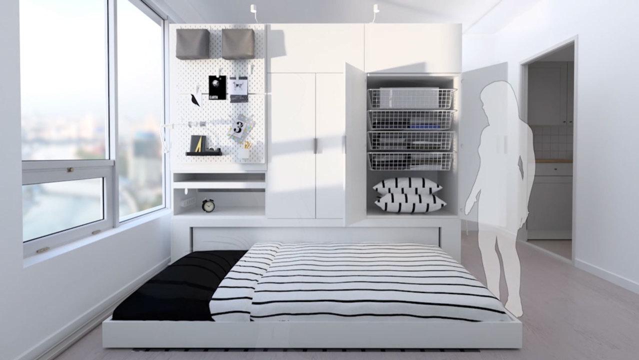この秘密基地感。モーターで動くIKEAのコンパクト一体型家具