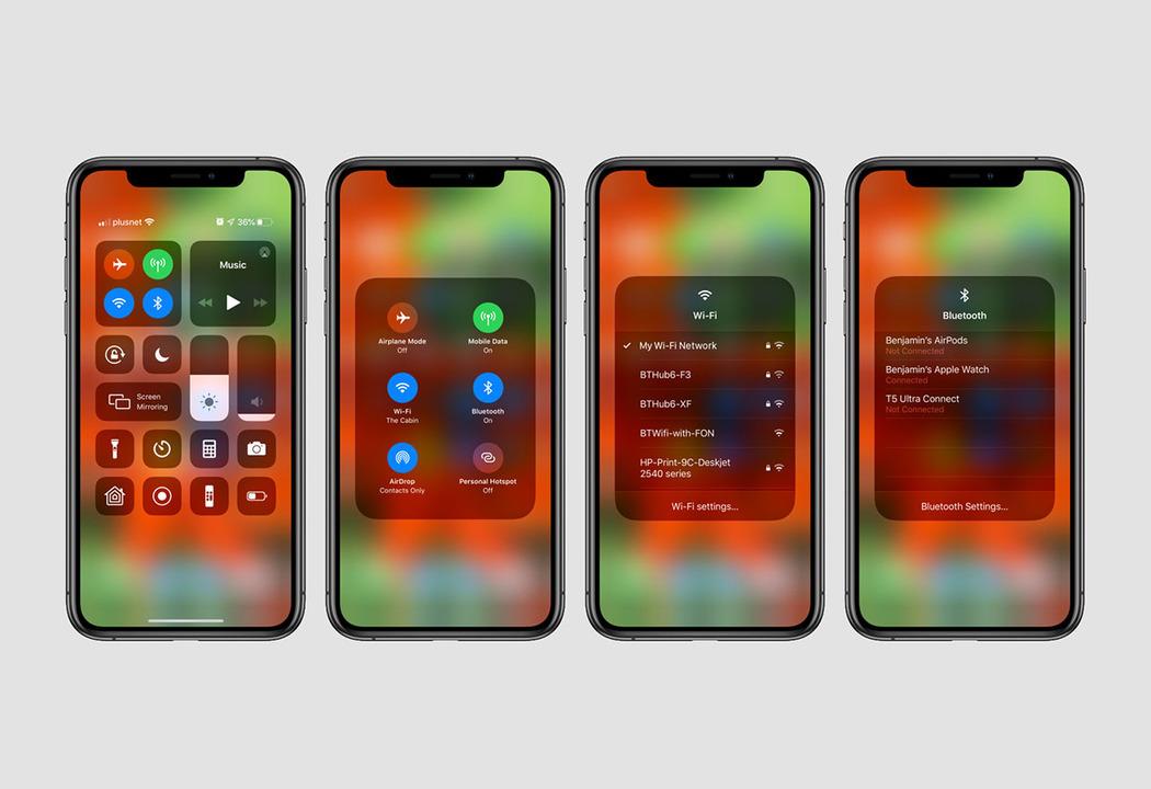 iOS 13ではコントロールセンターからWi-FiやBluetooth接続が操作できるよ