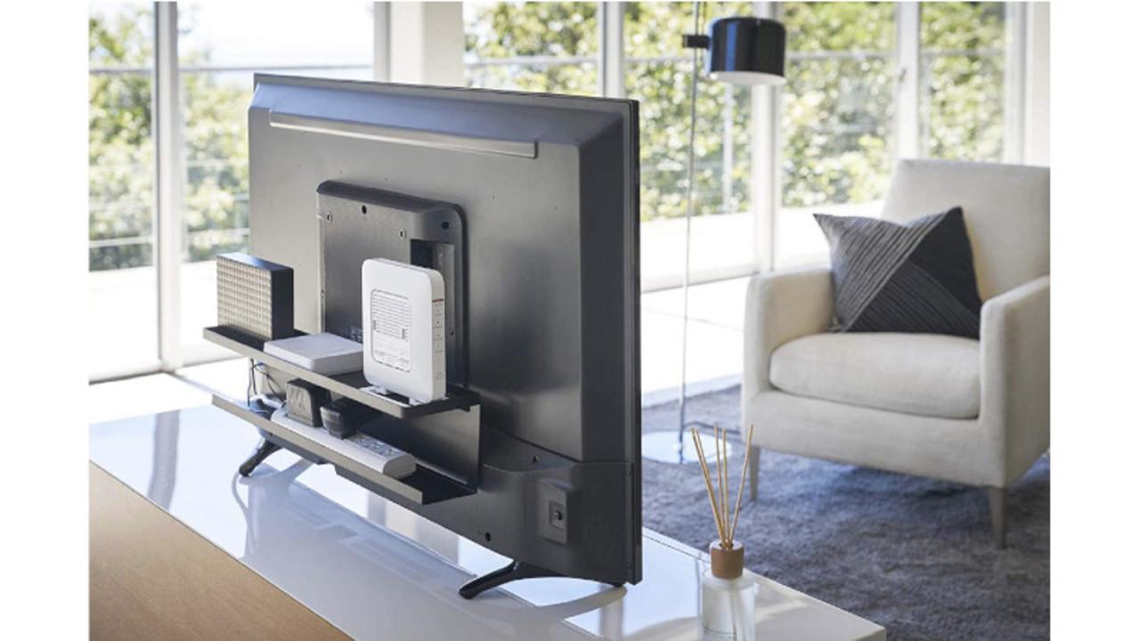 テレビ周りのリモコンやWiFi、ケーブルは、山崎実業のコレを使ってスッキリ整理整頓! デッドスペースを有効活用できるよ