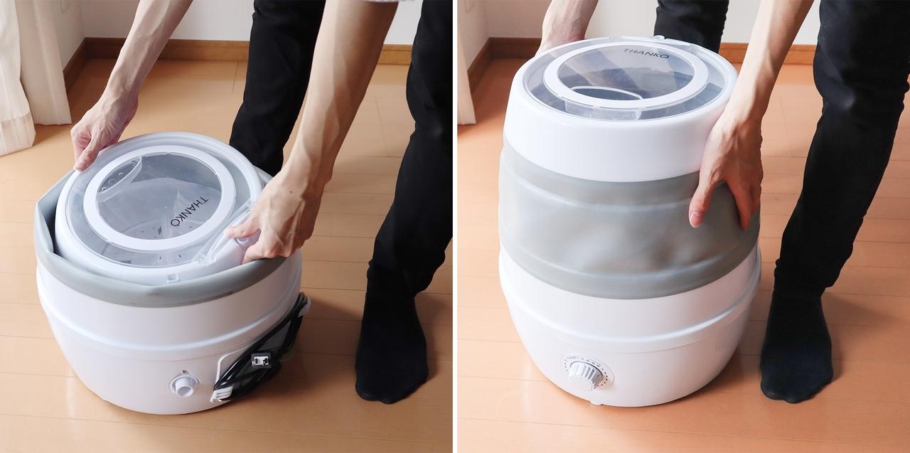 サブ洗濯機の時代来る? 戸棚にしまえる「折りたたみ洗濯機」
