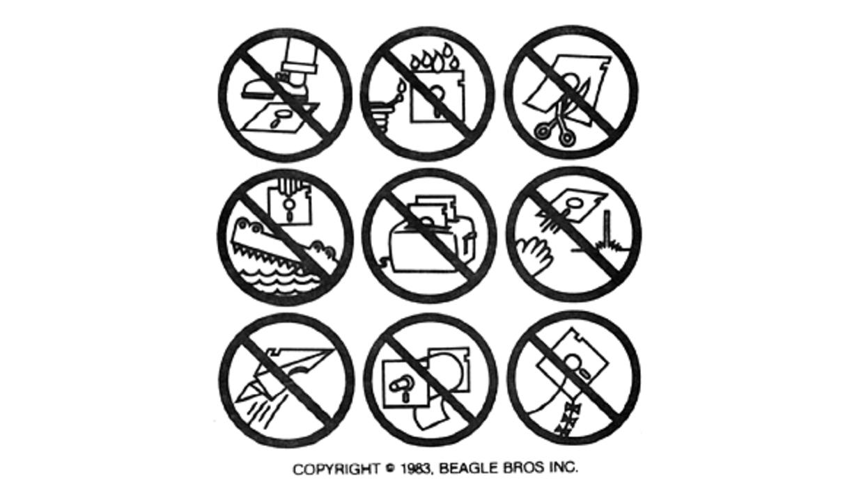 1983年版フロッピーディスクの取扱い注意イラスト