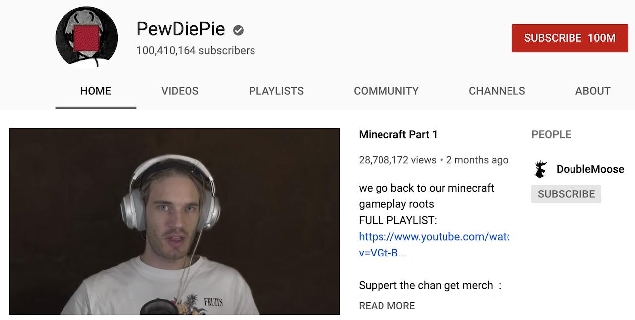 YouTubeで脅威の1億登録者を達成。おめでとうPewDiePie!