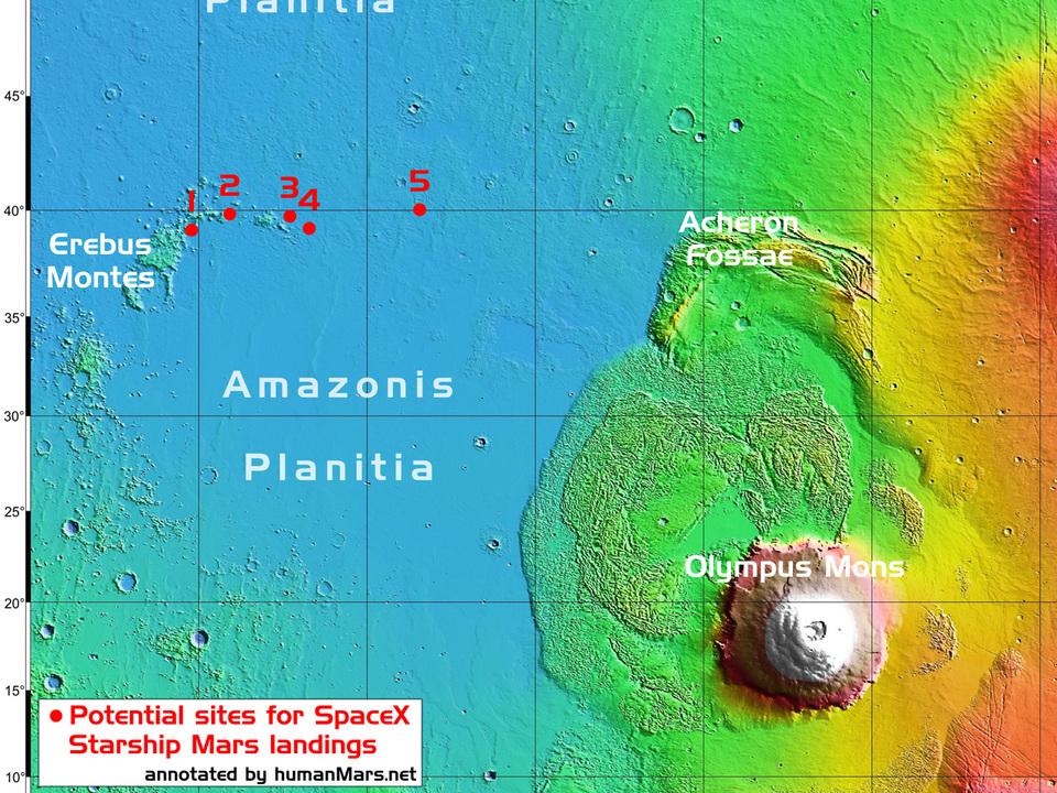 NASAのデータから「SpaceX着陸候補地」が見つかる。火星のどこに着陸するか、具体的に検討中か