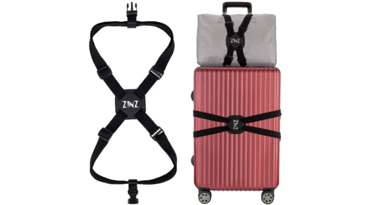 伸縮力バツグンで手のひらサイズにたためる、スーツケースにバッグを固定するベルト