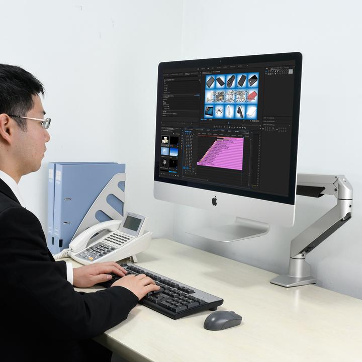 iMacをスタンドごと取り付けられる可動式アームが力技っぽくて好き