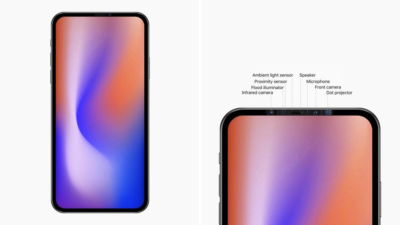 2020年iPhoneのプロトタイプ画像。上ベゼルにキュッとカメラ収納で脱ノッチ?