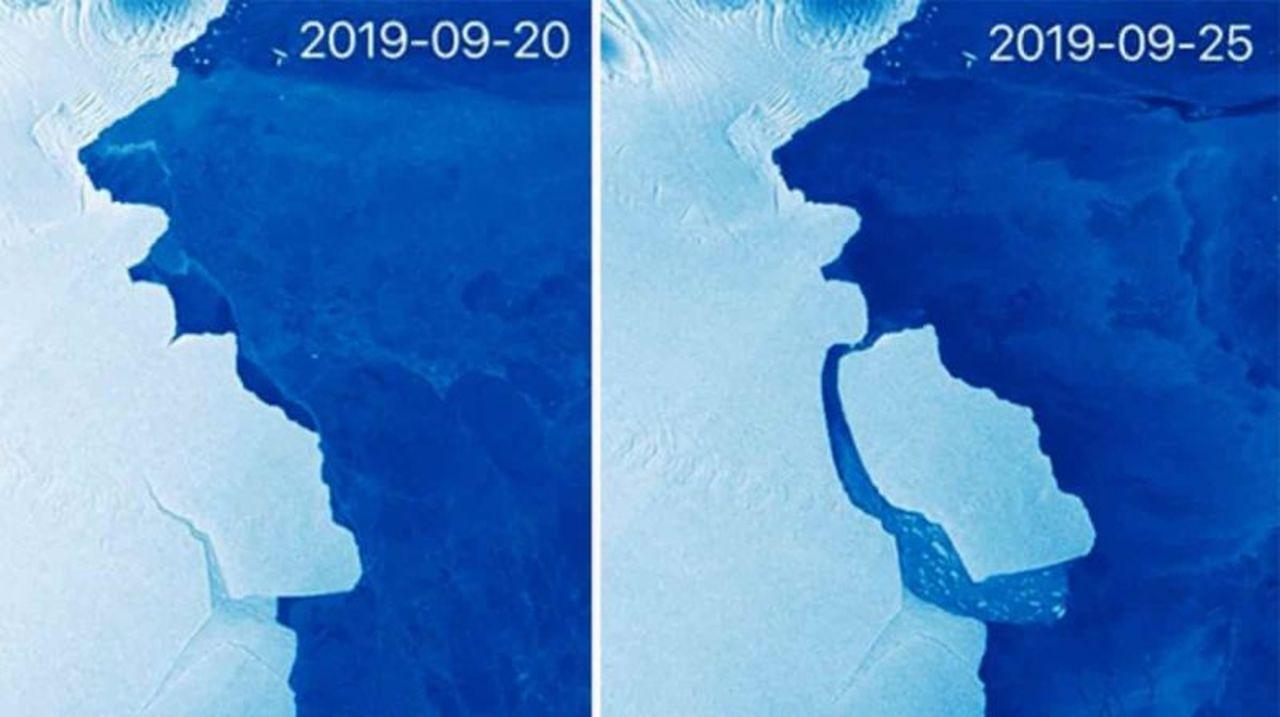 南極の巨大な氷山が分裂しました