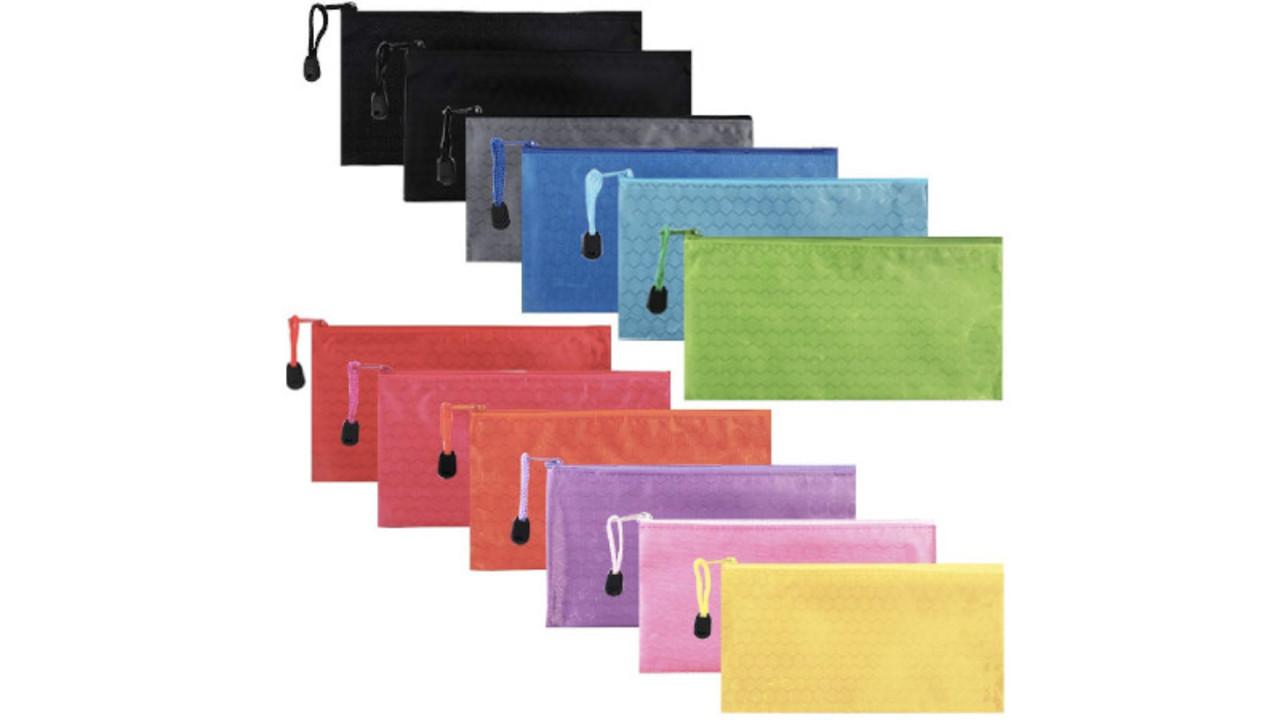 ガジェットやお金を仕分けて管理も楽に。12色12個セットのジッパー式ファイル袋