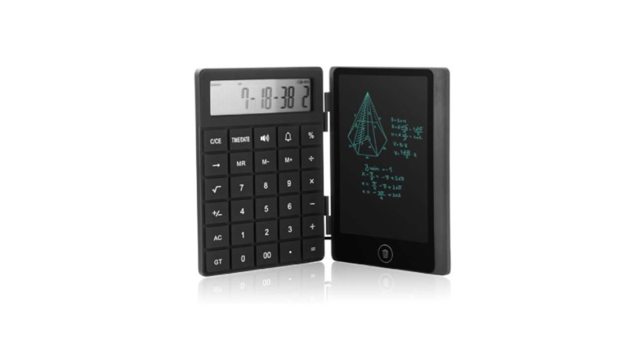電卓に電子メモが合体。メモ帳の用意が不要で繰り返し書ける